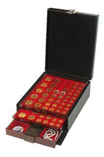 LINDNER 2314 Boxen-Koffer COMPACT Schwarzer Kunstleder Koffer KLEIN (leer) für 4 Münzboxen oder 2 Sammelboxen Standard Rauchglas - Vorschau 3