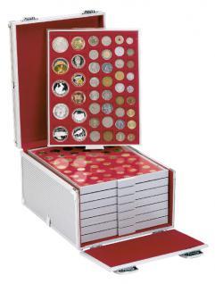 LINDNER 2358B Boxen-Koffer Münzboxenkoffer Koffer Aluminium befüllt 8 Münzboxen oder 4 Sammelboxen FREIE AUSWAHL