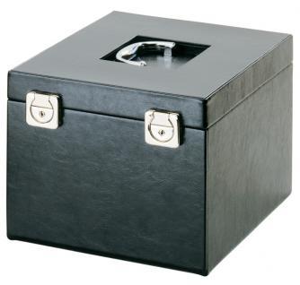LINDNER 2319 Boxen-Koffer COMPACT SCHWARZER Kunstleder Münzboxkoffer Koffer Gross (leer) für 8 Münzboxen oder 4 Sammelboxen