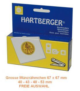 50 HARTBERGER grosse Münzrähmchen zum heften 67 x 67 mm FREIE AUSWAHL - 40 - 43 - 48 - 53 mm
