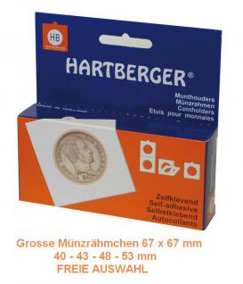 500 HARTBERGER grosse Münzrähmchen selbstklebend 67 x 67 mm FREIE AUSWAHL - 40 - 43 - 48 - 53 mm