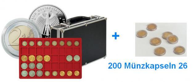 LINDNER 2338-320 MÜNZKOFFER im schwarzen Alu Design 8 Tableaus für bis 34 mm + 200 Münzkapseln 26