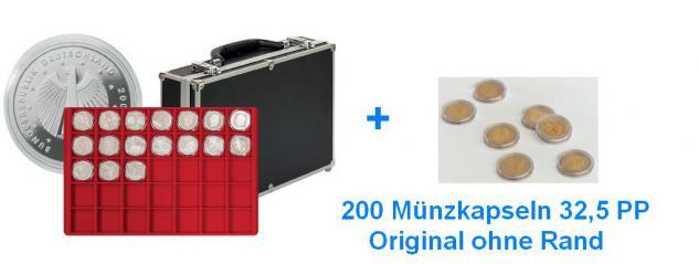 LINDNER 2338-280 MÜNZKOFFER im schwarzen Alu Design 8 Tableaus bis 39 mm + 200 original Münzkapseln 32,5 PP für 10 Euro