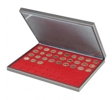 LINDNER 2364-2154E Nera M Münzkassetten Standard Einlage Hellrot für 54 x Münzen 25, 75 mm für 2 Euro