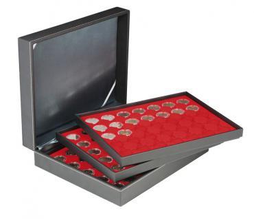 LINDNER 2365-2530E Nera XL Münzkassetten mit 3 Einlagen Hellrot Rot für 105 x Münzen bis 32 mm für 2 Euro in Münzkapsseln 26