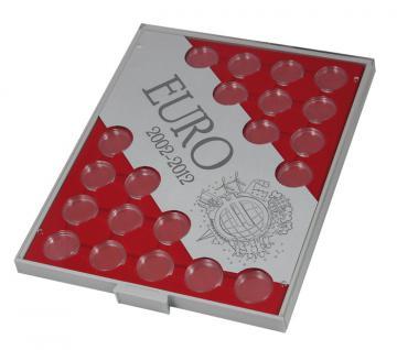 LINDNER S2521 Münzbox Münzenboxen Münzboxen 10 Jahre Euro Bargeld 2002 - 2012 - 2 Euro Gedenkmünzen + Münzkapseln 26