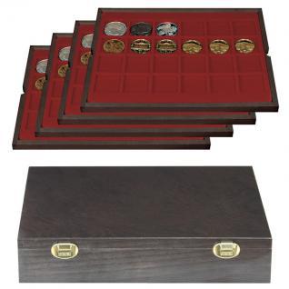 LINDNER 2494-4 CARUS Echtholz Holz Münzkassetten 4 Tableaus 96 quadratischen Fächern für Münzen bis 42 x 42 mm & Münzkapseln 36 mm
