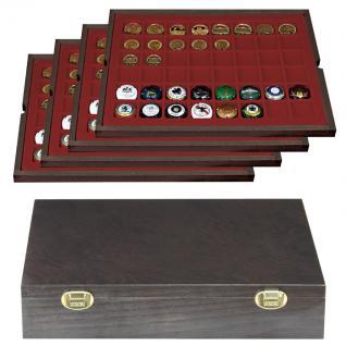 LINDNER 2494-6 CARUS Echtholz Holz Münzkassetten 4 Tableaus 192 Fächer Münzen bis 30 x 30 mm & Münzkapseln 24, 5 mm