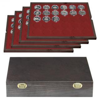 LINDNER 2494-8 CARUS Echtholz Holz Münzkassetten 4 Tableaus 120 Fächer Münzen bis 39 x 39 mm bis Münzkapseln 32, 5 - 33 - 10 Euro