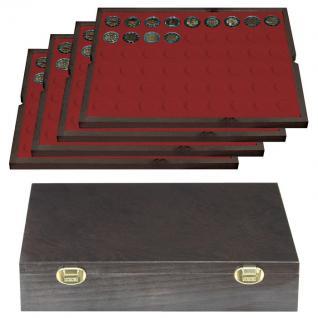 LINDNER 2494-10 CARUS Echtholz Holz Münzkassetten 4 Tableaus 216 Fächer Münzen bis 25, 75 x 25, 75 mm 2 Euro Münzen