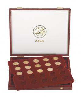 LINDNER 2453 Luxus Kassetten Münzkassetten mit 2 Tableaus 50 x 2 Euro Münzen