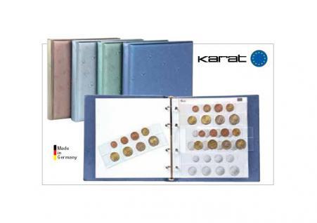 LINDNER 1105 - B KARAT Münzalbum EURO Design Blau (leer) + 4 Münzblätter K8 + Euro Vordruckblätter