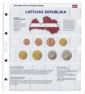 1 x Lindner 1109-21 Karat K8 Farbiges Vordruckblatt + EURO Lettland Kursmünzensatz KMS