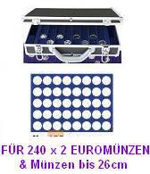 SAFE 268 -190 Alu Münzkoffer 6 Tableaus 240 runde Fächer 26 mm 2 Euro Münzen & Münzkapseln bis 20 mm