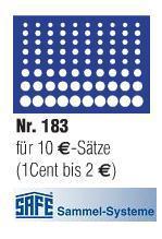 1 x SAFE 183 Blaue Münztableaus für 10 komplette EURO KMS Kursmünzensätze 1 Cent - 2 EURO Münzen
