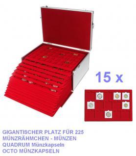 SAFE 273 - 2329-15 ALU Münzkoffer GIGANT 15 MÜNZTABLEAUS für 225 x Münzen bis 50 x mm Münzrähmchen Quadrum Octo Münzkapseln