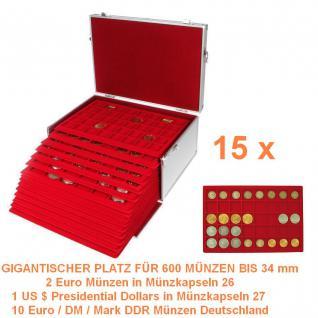 SAFE 273 - 2329-40 ALU Münzkoffer GIGANT 15 MÜNZTABLEAUS für 600 x 2 Euro in Münzkapseln 26 & 10 Euro / DM / Mark DDR