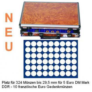 SAFE 168 - 189 ALU Münzkoffer Wurzelholz 6 Tableaus 324 runde Fächer 29,5 mm - 5 DM Euro Mark DDR 10 Franz. Euro - 20 ÖS