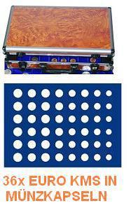 SAFE 168 - 185 ALU Münzkoffer Wurzelholz 6 Tableaus 36 komplette EURO KMS Kursmünzensätze 1 Cent - 2 Euro Münzen in Münzkapseln