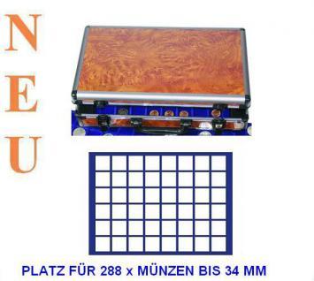 SAFE 168 - 184 ALU Münzkoffer Wurzelholz 6 Tableaus für 288 quardratische Fächer 33 mm 10 Euro & 2 Euro Münzen in Münzkapseln 26