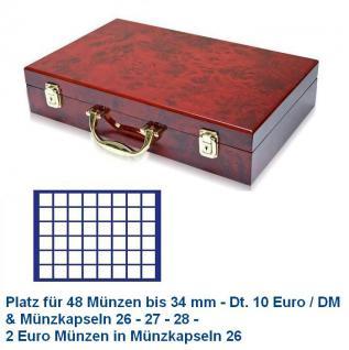 SAFE 169 - 184 Holz Münzkoffer Premium im Wurzelholz Design 6 Tableaus 288 Fächer 34 mm 10 Euro & 2 Euro in Münzkapseln 26