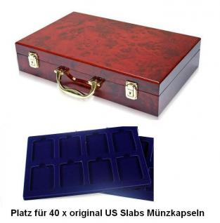 SAFE 169 - 180 Holz Münzkoffer Premium im Wurzelholz Design 5 Tableaus 40 Fächern 62 x 84 mm original US Slabs Münzkapseln