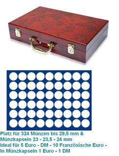 SAFE 169 - 189 Holz Münzkoffer Premium im Wurzelholz Design 6 Tableaus 324 Fächer 29, 5mm - 5 DM EURO Mark DDR 10 Franz. Euro 20 ÖS
