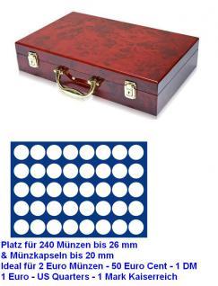 SAFE 169 - 190 Holz Münzkoffer Premium im Wurzelholz Design 6 Tableaus 240 runde Fächer 26 mm 2 Euro Münzen & Münzkapseln 20