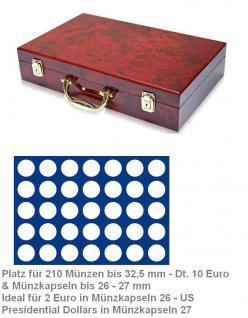 SAFE 169 - 191 Holz Münzkoffer Premium im Wurzelholz Design 6 Tableaus 210 Fächer 32, 5 mm 10 Euro Münzen 2 Euro in Münzkapseln 26