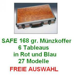 SAFE 168 ALU Münzkoffer Wurzelholz STANDARD mit 6 Münztableaus Rot & Blau 27 Modelle FREIE AUSWAHL