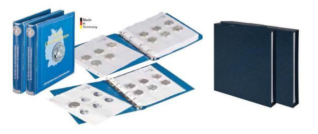 LINDNER 1117M + 1117M2 + 2x 810D-B Münzalben 10 Euro Gedenkmünzen Deutschland Vordruckalbum Teil I + II 2002 - 2015 + 2x Kassetten