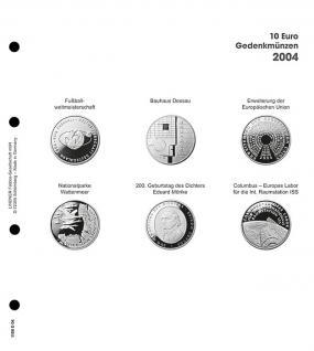 1 x LINDNER 1108D04 Einzelblatt Ergänzungsblätter K2 + Vordruckblatt 10 Euro Münzen Deutschland 2004