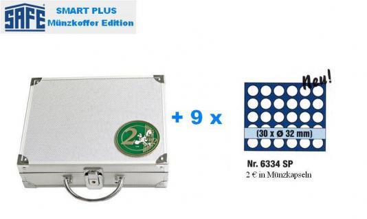 SAFE 172 PLUS ALU Münzkoffer 9 Tableaus 6334 für 270 Münzen bis 32 mm & 2 EURO Münzen Gedenkmünzen in Münzkapseln 26