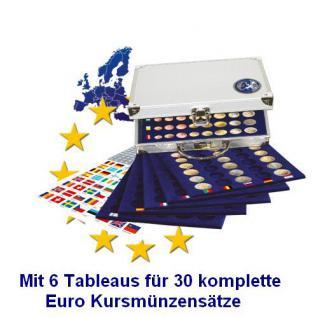 SAFE 177 ALU Münzkoffer mit 6 Tableaus 6340 für 30 x EUROMÜNZEN KMS Kursmünzensätze von 1 Cent bis 2 Euromünzen + Flaggenset