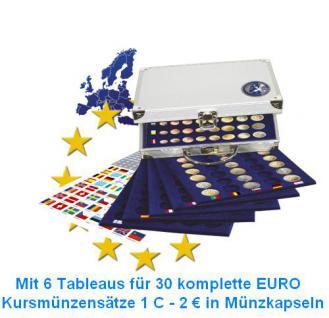 SAFE 179 ALU Münzkoffer 6 Tableaus 6339 für 30 x EUROMÜNZEN KMS Kursmünzensätze 1 Cent 2 Euro in Münzkapseln