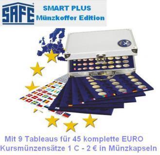 SAFE 179 PLUS ALU Münzkoffer 9 Tableaus 6339 für 45 x EUROMÜNZEN KMS Kursmünzensätze 1 Cent 2 Euro in Münzkapseln - Vorschau 1