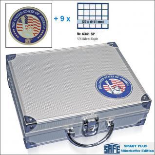 SAFE 230 - 6341 PLUS ALU Münzkoffer SMART USA 9 Tableaus 180 Fächer 41 mm für US EAGLE DOLLAR