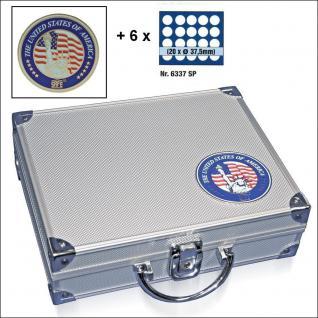 SAFE 230 - 6337 STANDARD ALU Münzkoffer USA 6 Tableaus 120 runde Fächer 37,5 mm & Münzkapseln 31 - 32,5 US Half Dollar in Münzkaps