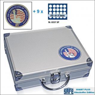 SAFE 230 - 6337 PLUS ALU Münzkoffer USA 9 Tableaus 180 runde Fächer 37,5 mm & Münzkapseln 31 - 32,5 US Half Dollar in Münzkapseln