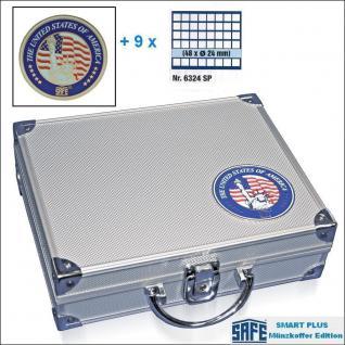 SAFE 230 - 6324 PLUS ALU Münzkoffer SMART USA 9 Tableaus 432 quadratische Fächer 24,5 mm für US State Quarters