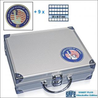 SAFE 230 - 6327 PLUS ALU Münzkoffer SMART USA 9 Tableaus 315 quadartische Fächer 27 mm für US Sacajawea - Presidential Dollar