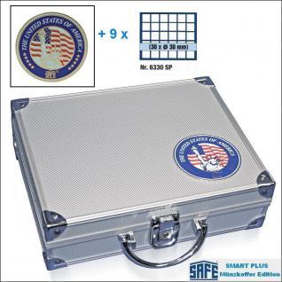 SAFE 230 - 6330 PLUS ALU Münzkoffer SMART USA 9 Tableaus 270 Fächer 30 mm & Münzkapseln 24, 5 mm US Quarters in Münzkapseln