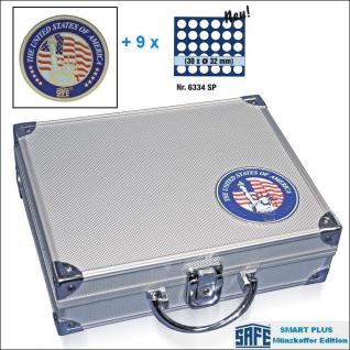 SAFE 230 - 6334 PLUS ALU Münzkoffer SMART USA 9 Tableaus 270 Fächer 32 mm US Half Dollar & Münzkapseln 26