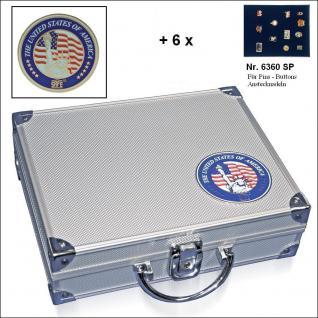 SAFE 230 - 6360 STANDARD ALU Sammkoffer SMART USA 6 Tableaus ohne Einteilung für Pins Button Anstecknadeln Militatia Orden Brosche - Vorschau 1