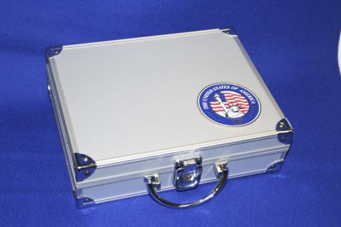 SAFE 230 ALU Sammelkoffer SMART USA mit Plakette Liberty leer für alles was gesammelt wird von A - Z - Vorschau 1