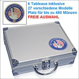 SAFE 230 ALU Münzkoffer USA mit 6 Tableaus - 27 Modelle für bis zu 480 Münzen - FREIE AUSWAHL