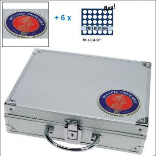 SAFE 231 - 6334 STANDARD ALU Münzkoffer SMART Frankreich 6 Tableaus 180 Fächer 26 mm 2 Euro Münzen in Münzkapseln