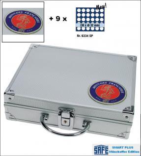 SAFE 231 - 6334 PLUS ALU Münzkoffer SMART Frankreich 9 Tableaus 270 Fächer 26 mm 2 Euro Münzen in Münzkapseln