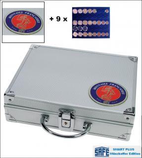 SAFE 231 - 6339 PLUS ALU Münzkoffer SMART Frankreich 9 Tableaus 45 kompl. EURO Kursmünzensätze KMS 1 Cent - 2 ? in Münzkapseln