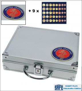 SAFE 231 - 6340 PLUS ALU Münzkoffer SMART Frankreich 9 Tableaus 45 x komplette EURO Kursmünzensätze KMS 1 Cent - 2 Euro Münzen